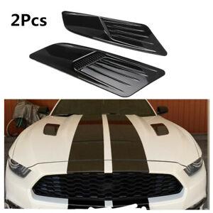 Black Car Hood Scoop Decorative Air Intake Trim Vent Bonnet Cover With Adhesive