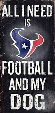 "HOUSTON TEXANS FOOTBALL & my DOG WOOD SIGN & ROPE 12"" X 6""  NFL MAN CAVE!"