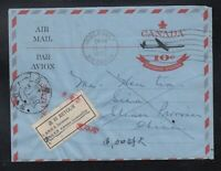 Canada 1965 RETURN TO SENDER Label Air Letter Cover to SIAN China