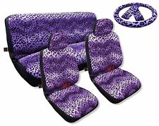 Purple Leopard Spotted Fur Print Seat Covers Front Bench Steering Wheel Set