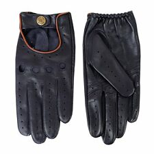 Dents Delta Men's Hairsheep Navy/Tan Leather Classic Driving Gloves Sz S