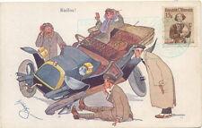 Vintage Car Crash Austrian Stamp Three men staring at the broken wheels