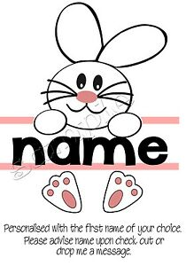 Iron on Transfer PERSONALISED CUTE BUNNY RABBIT HAPPY EASTER 14x16cm