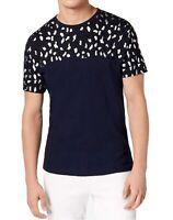 INC Mens Navy Blue Size 2XL Crewneck Stretch Leopard Print Tee T-Shirt $29 430