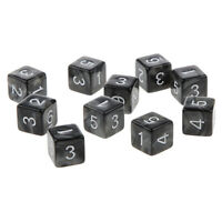 10pcs Six Sided Dice D6 Playing D&D RPG Party Games Dices - Black