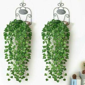 2x90CM Efeugirlande Efeubusch Grünpflanze Künstliche Kunstpflanze Deko Hochzeit