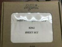 4pcs King Size Organic Cotton Bed Sheet Set 600 TC, Beige White King Size