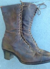 """Womens Early 1900's Victorian Edwardian Brown Leather Lace Up 10"""" Boots Shoes"""