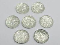 """20 Clear Acrylic Round Flatback Dotted Rhinestone Cabochon Gem 20mm(3/4"""")"""