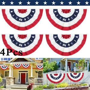 (4 PACK) American USA Bunting Flag Fan Parade Banner for 4th of July Decor