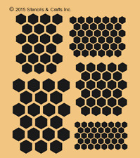 "HONEYCOMB STENCIL 5 SIZES SHAPES HEXAGON BEEHIVE STENCILS TEMPLATE NEW 8""x 10"""