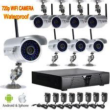 Wireless 8pcs 720P wifi 36IR Outdoor Camera 8ch NET NVR CCTV Security System Y