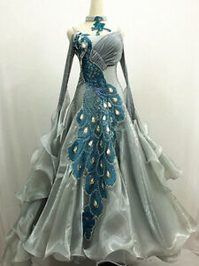 Ballroom Competition Dance Dress Gray Modern Gown Blue Peacock Decoration Grey 8