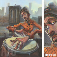 """20W""""x27H"""" THE CONGA PLAYER by JUSTIN BUA - MUSICAL DRUMS - CHOICES of CANVAS"""