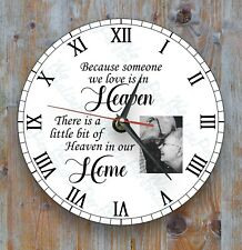 Personalised wall glass clock photo/text/logo Remembrance Gift Family Loved Ones
