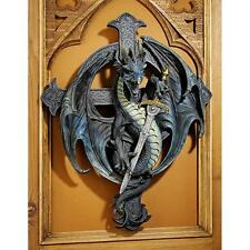 Medieval Winged Dragon Guarding Sword Celtic Cross Wall Sculpture