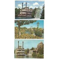 Disneyland Vintage Postcards Lot of 3 Features Frontierland Mark Twain Steamboat