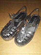 Platform Silver Glitter Jelly Shoes