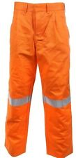 Stubbies 112S Mens Work Trousers Orange Pants Hi Vis Workwear Cotton Drill