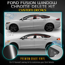 Fit 13-19 Ford Fusion Window Overlay Chrome Delete Blackout Kit - Glossy Black