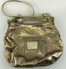 Coach Poppy Shoulderbag Gold Shimmer Leather Purse Bag Hobo