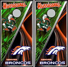 Miami Hurricanes & Denver Broncos 0542 cornhole board vinyl wraps stickers