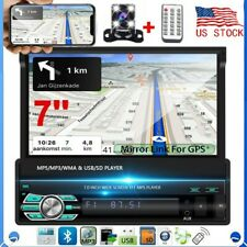 7'' 1Din Car Radio Touch Screen FM Flip out Bluetooth MP5 Player Stereo + Camera
