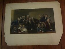 Antique print colored Village Choir Webster / Bourne from John Tyson collection
