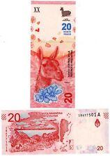 Argentine ARGENTINA Billet 20 PESOS 2017 LAMA GUANACO NOUVEAU NEW  NEUF UNC