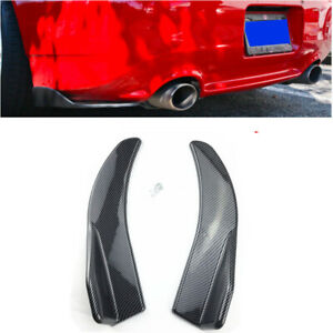 2x 17.3'' inch Car Rear Bumper Spoiler Protector Body Kit Carbon Fiber Style