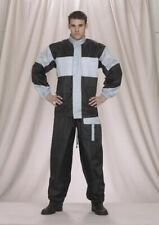 Men's Motorcycle Two Piece Black and Grey Rain Suit with Draw Strings & Pockets