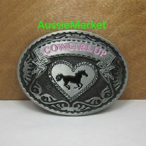 1 x ladies girls belt buckle quality metal alloy cowboy cowgirl horse hat pink