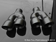 """Black Exhaust Muffler Tip Dual 3"""" OD Round Walled Staggered 2.25"""" Inlet combo"""