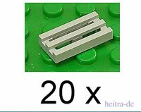 LEGO - 20 x Gitterfliese 1x2 hellgrau / Gitterfliesen / 2412b NEUWARE