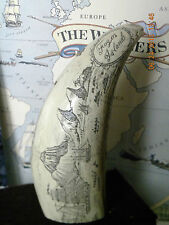"""Scrimshaw Sperm whale tooth resin replica """" FOGOS ISLAND"""" 6&1/2 inches long"""