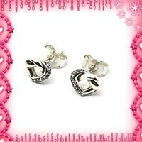 Pandora Silver Knotted Heart Earrings S925 ALE