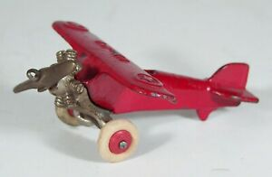 1920s CAST IRON SINGLE ENGINE UX 99 AIRPLANE TOY By WILLIAMS IN ORIGINAL PAINT