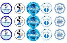 15 Disney Baby Boy Mickey Mouse Shower Stickers Lollipop Labels Personalized