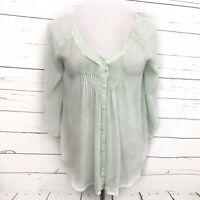 LC Lauren Conrad XS Women's Top Green Floral Leaf Sheer Blouse Boho