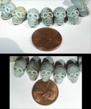 3 pieces Small Raku SKULL W/ SPIRAL Beads! - Horizontal Drill