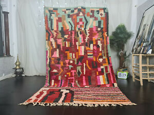 """Moroccan Vintage Boujad Handmade Rug 5'5""""x9'1 Patchwork Colorful Berber Wool Rug"""