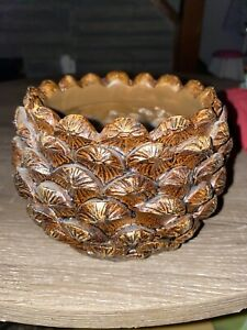 YANKEE CANDLE PINE CONE CANDLE HOLDER FOR LRG & MED CLASSIC JAR CANDLES