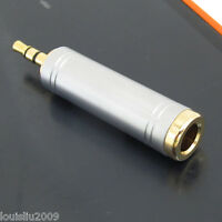 "1pc High Quality Gold 3.5mm 1/8"" Stereo Male to 6.35mm 1/4"" Female Adapter"