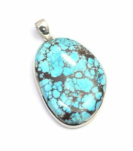 925 SOLID STERLING SILVER BLUE TURQUOISE PENDANT- 2.3 INCH J580