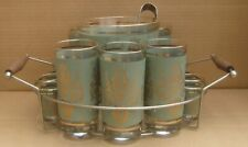 Tumblers Ice Bucket, Tongs Shot Glasses Green w/Gold Lyre Harp Drink Set w/Caddy
