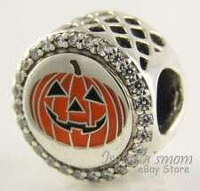 PUMPKIN Jack-O-Lantern PANDORA Silver/Orange Enamel HALLOWEEN Charm/Bead NEW HTF