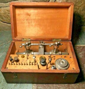 ANTIQUE WATCHMAKER'S LATHE 8mm. Made by G.Boley w/Case & Access.