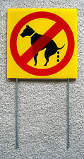 """NO DOG POOP   8""""X 8"""" Plastic Coroplast Sign with Stake  NEW"""