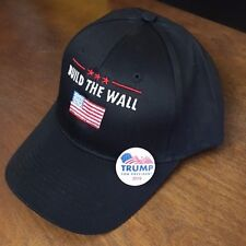 BUILD THE WALL TRUMP USA AMERICAN FLAG with free Trump campaign pin/ button