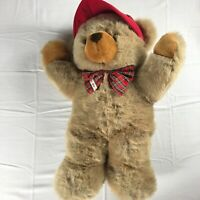"JC Penney Plush Bear Large 24"" Stuffed Teddy Holiday Plaid Bow Tie Hat VTG Jumbo"